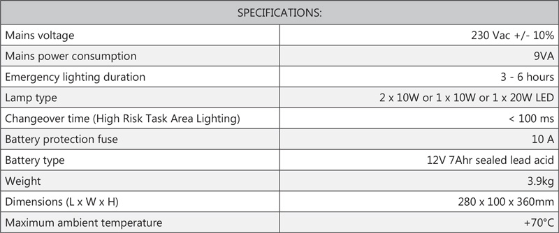 Cosine Developments ELS LED Flood specifications