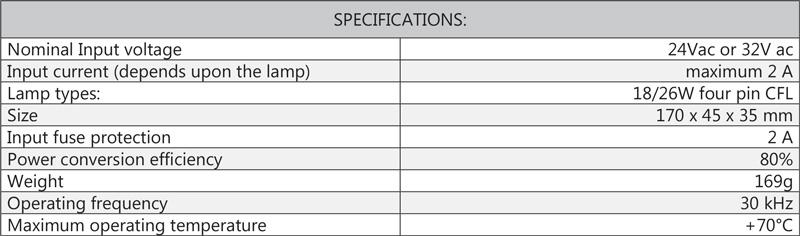 Cosine Developments DC Inverters TL24Vac STD and 32Vac STD specifications